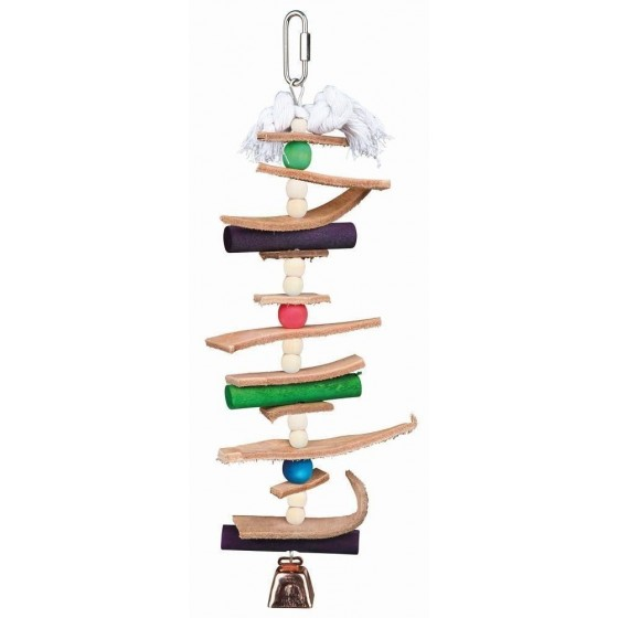 Wooden toy with leather and pearls, 28 cm